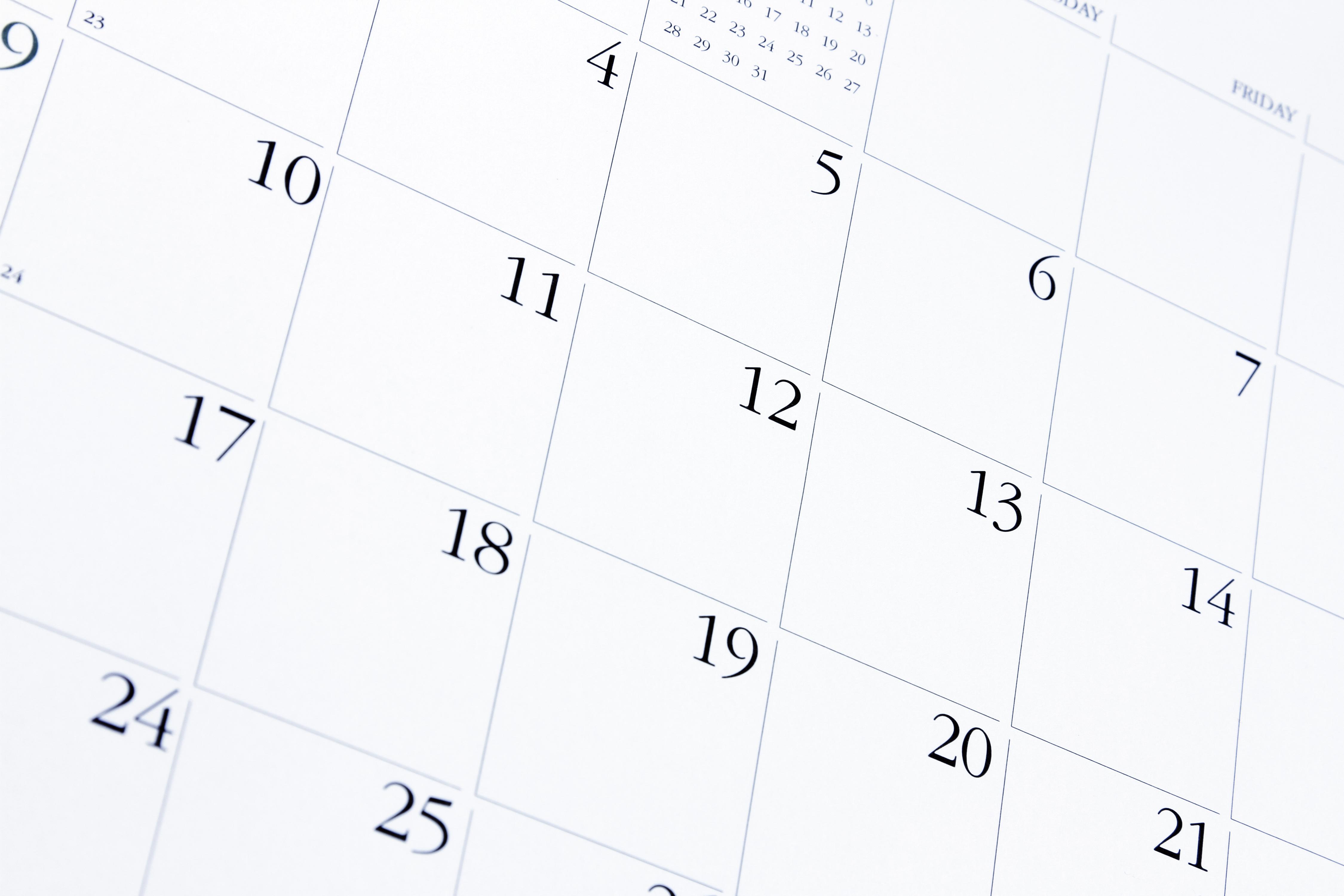 Kalenderblatt, Auszug aus dem Kalender